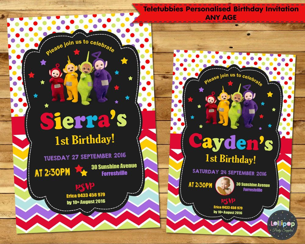 Teletubbies Invitations 1st First Birthday Party Invite