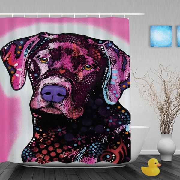 Labrador Dog Pink Shade Shower Curtains Pet Theme Bathroom With Hooks And Durable Eyelets Waterproof Fabric