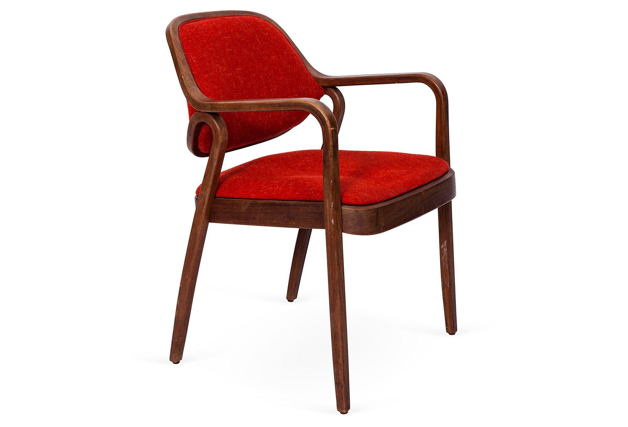Orange Woven Midcentury Wood Chair - 1960s