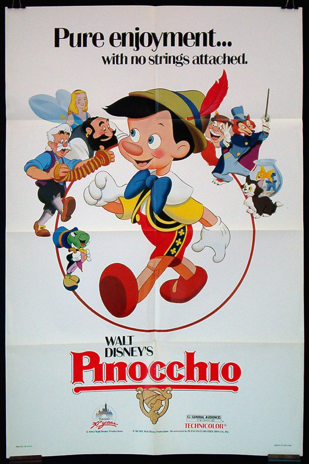 Pinocchio original movie poster Disney 1984rr