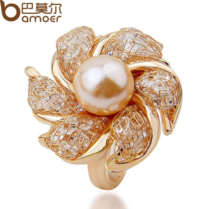 BAMOER High Quality Rose Gold Plated Imitation Pearl Ring for