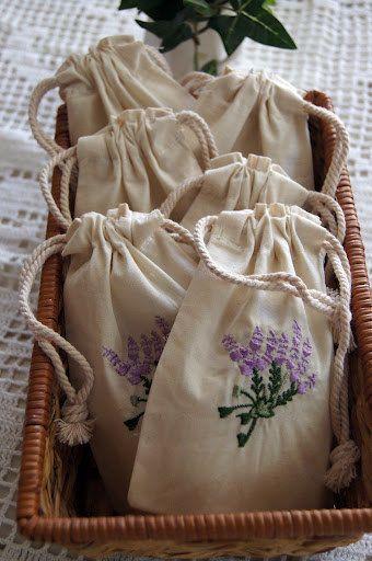 Embroidered Bags (6 Pack) Lavender Design. $9.20, via Etsy.