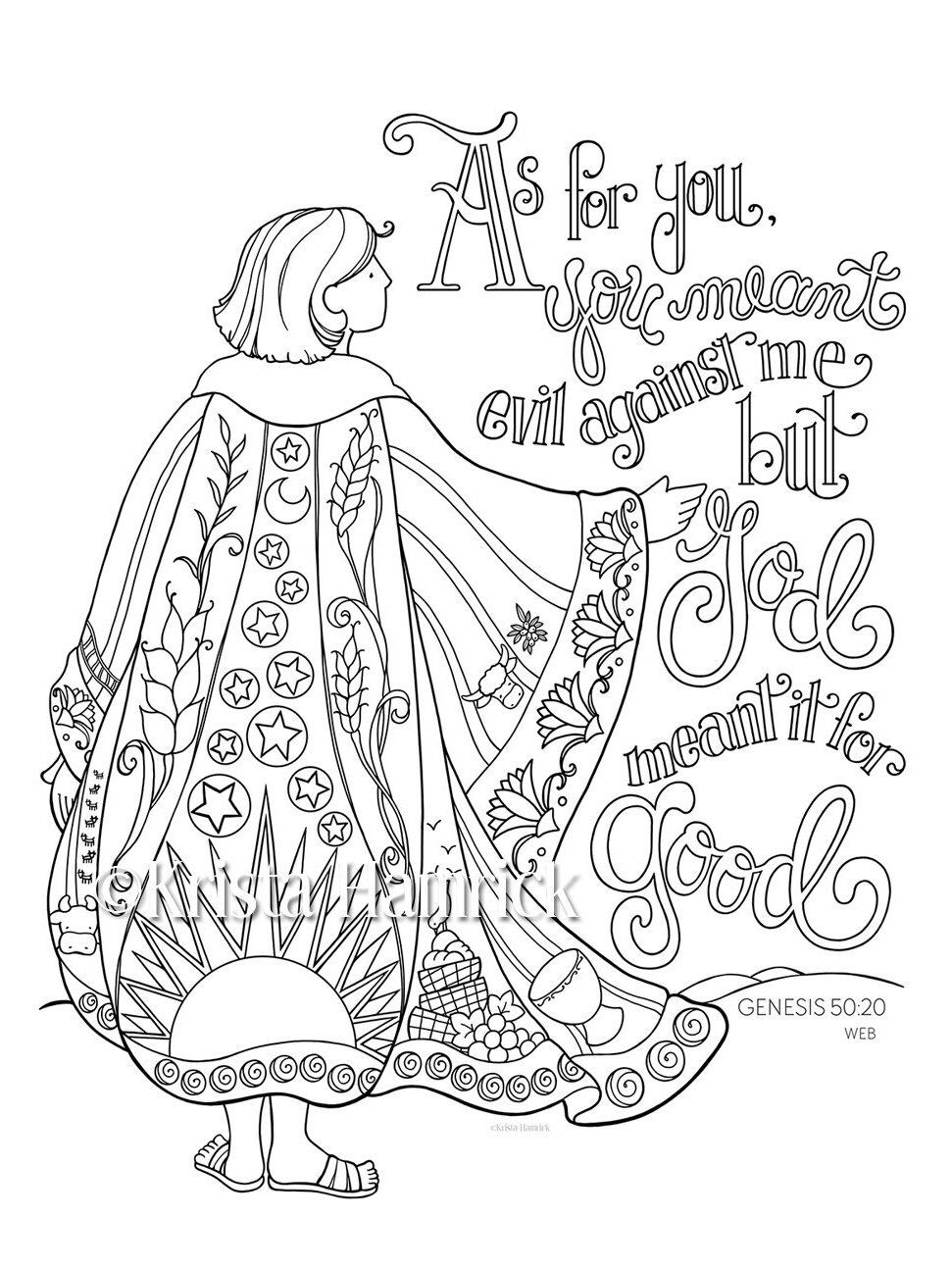 Coloring Page 85X11 Bible Journaling Tip In 6X8 By KristaHamrick On Etsy Listing 452390660 Josephs Coat Of Many Colors