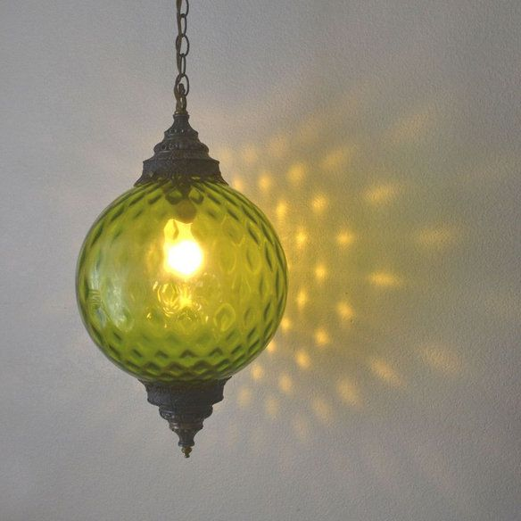 Green Glass Hanging Swag Lamp Vintage 1960s Retro Swag Lamp Retro Home Swag Light