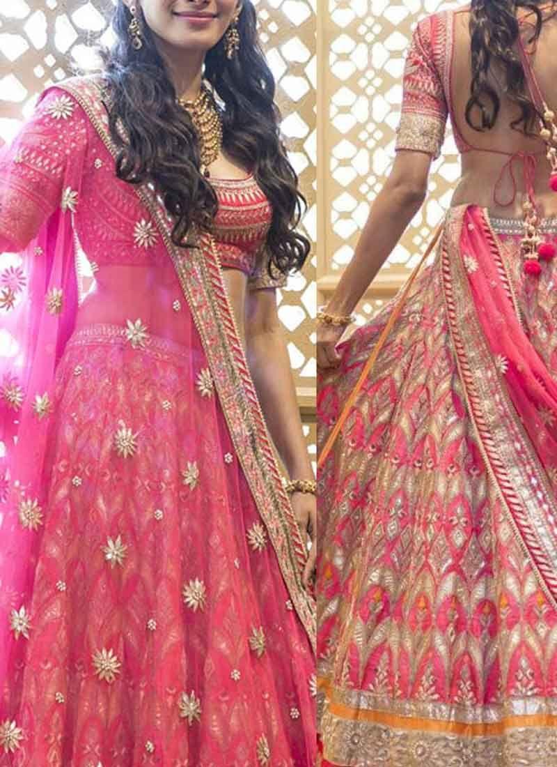 Pink Embroidery Booti Work Heavy Lace Border Banarasi Silk Wedding ...