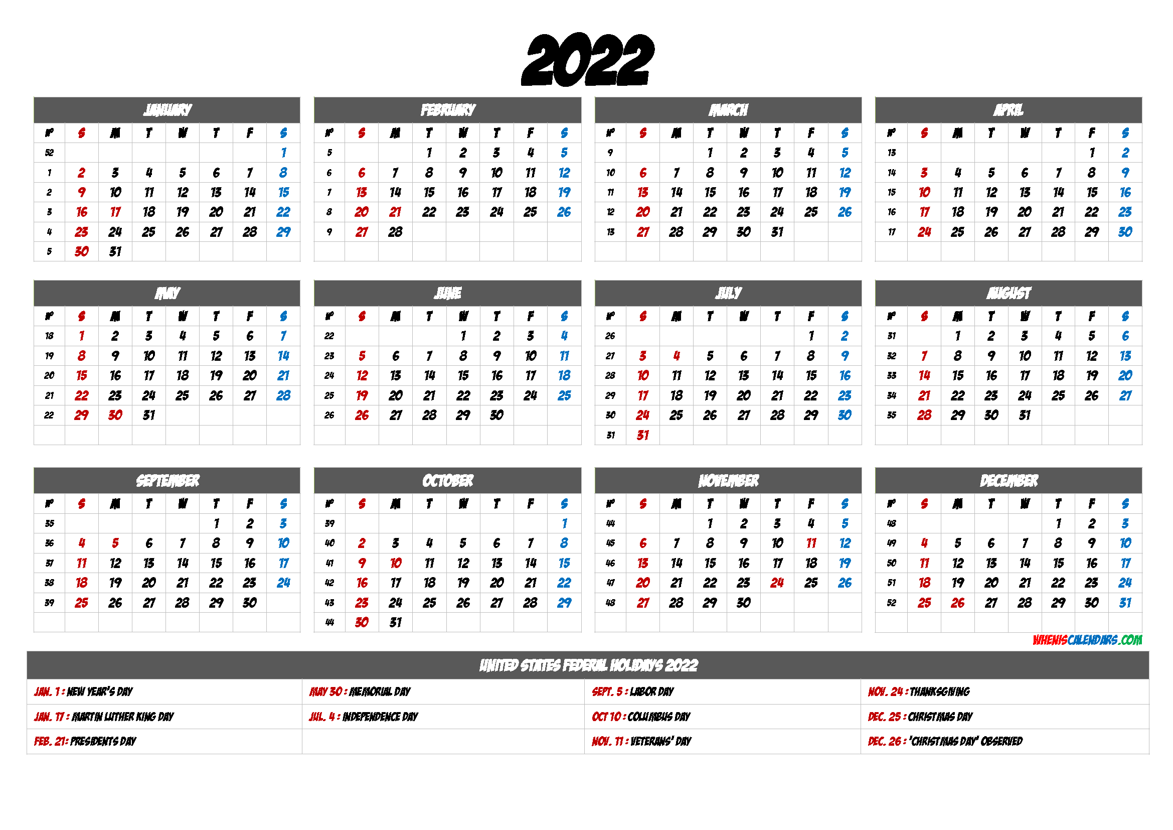 Free Printable Calendar 2022 6 Templates Free Printable Calendar Calendar Printables Calendar With Week Numbers