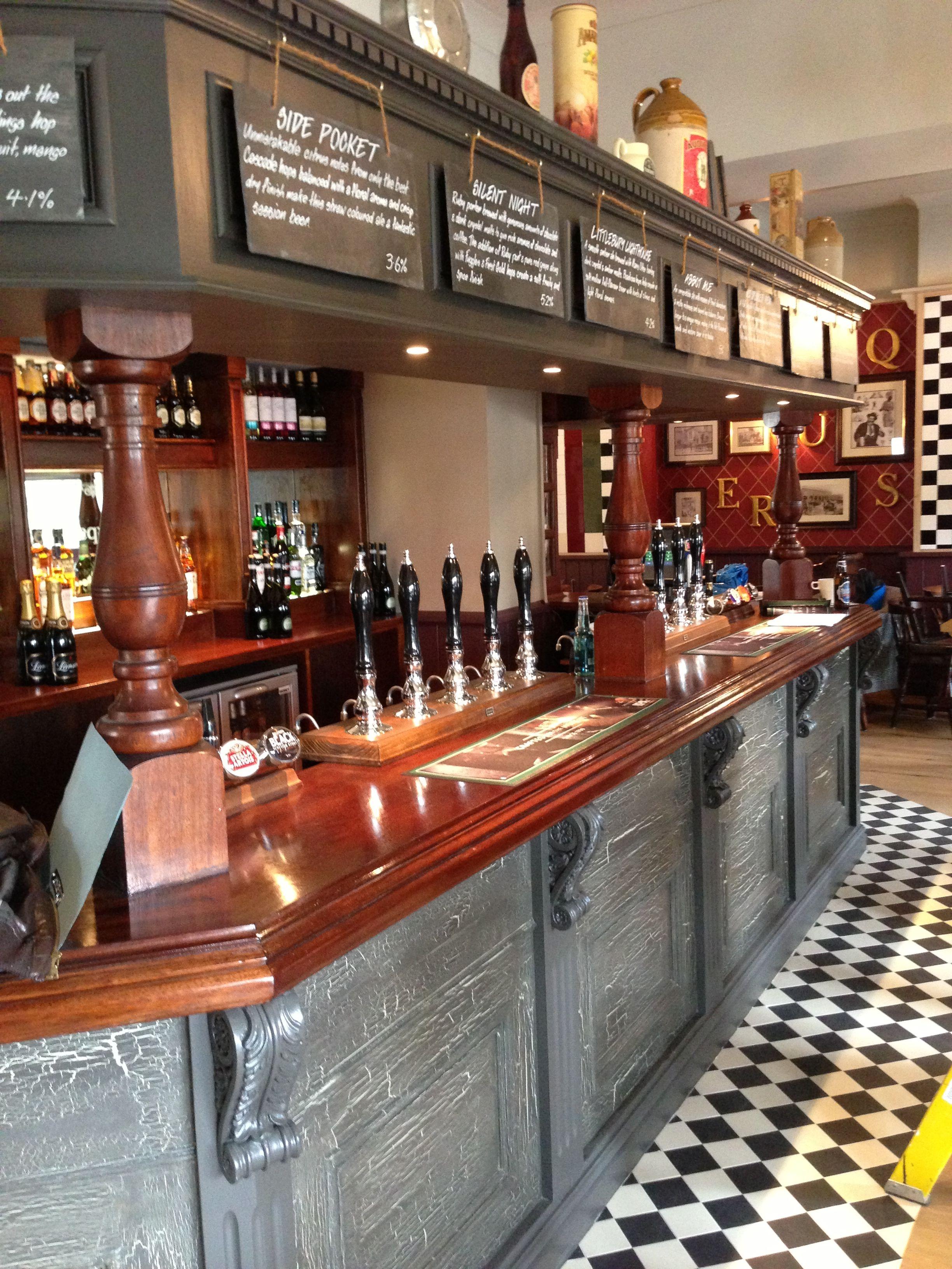 Quirky pub design crackle glaze painted bar front the