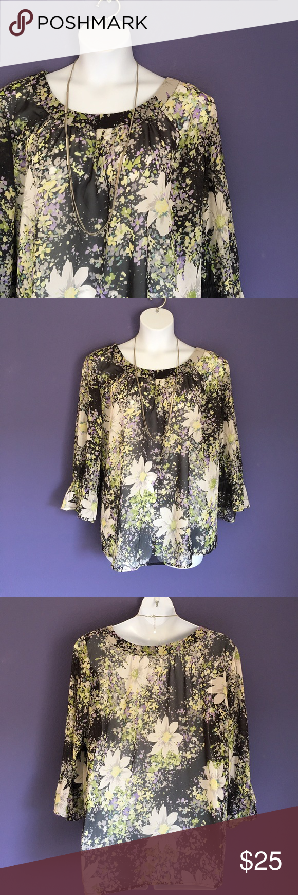 "Cato Floral Top Take time and smell the flowers!  These comfortable blouse is perfect for any occasion. Pair with capris or jeans for a great outfit.  Measurements (Flat):  Length - 29""/Bust - 31""/Waist - 29"" Cato Tops Blouses"