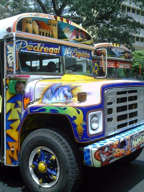 Panama City, Panama - Most city buses are painted like this one