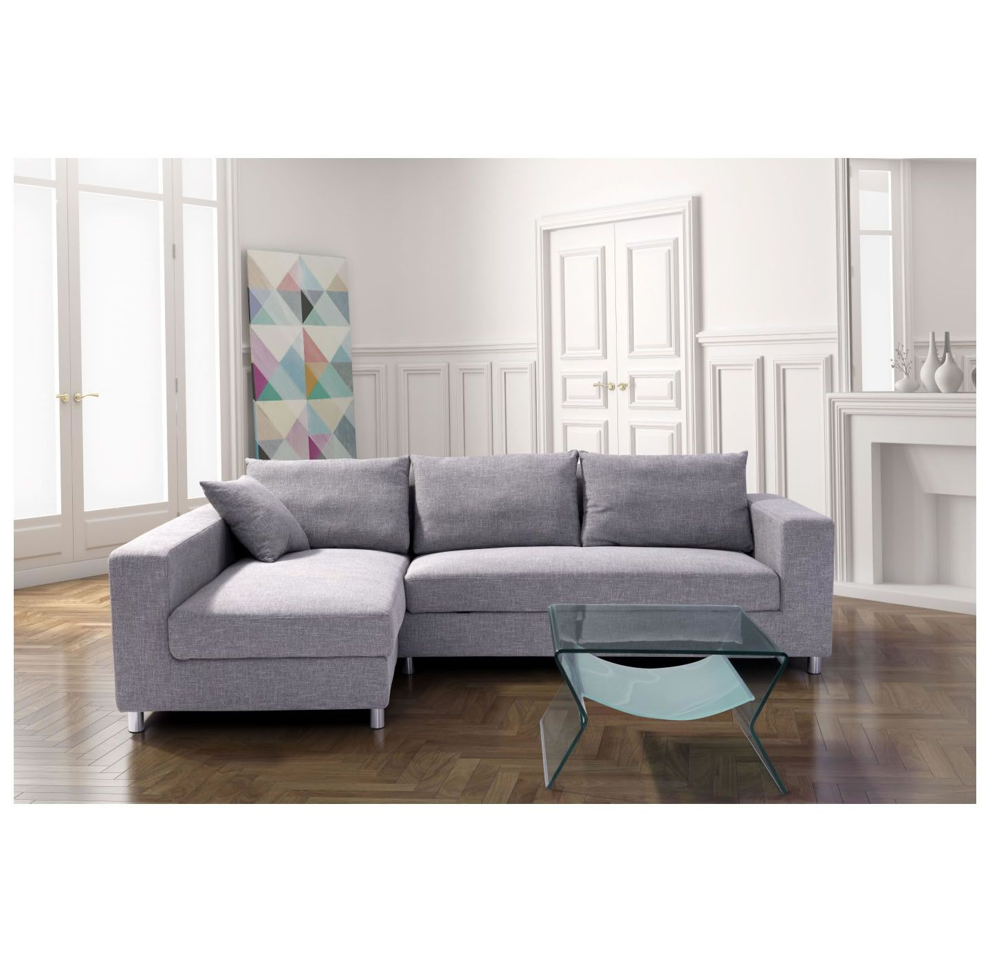 Roxboro sofa lit sectionnel gris disc 900653 for Sofa lit cuir