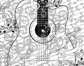 Printable Coloring Poster Adult Coloring Page Music Art Coloring