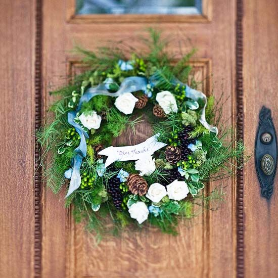 Pretty Christmas Door Decorations Wreaths, Flower and Create