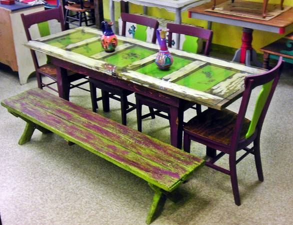 Tea Table Made From Old Door