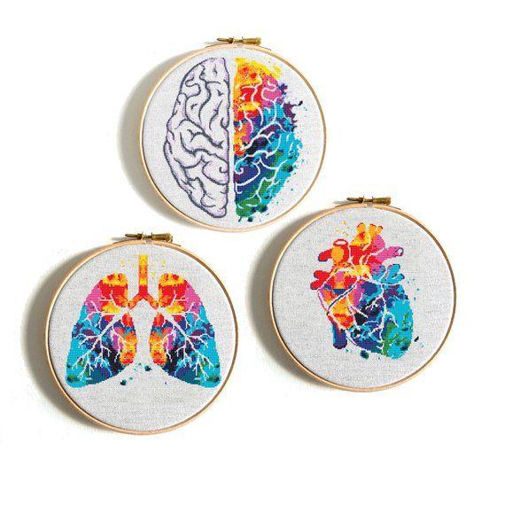 Photo of Modern cross stitch pattern Heart cross stitch Human Anatomy cross stitch Science cross stitch chart Rainbow pattern Funny cross stitch PDF