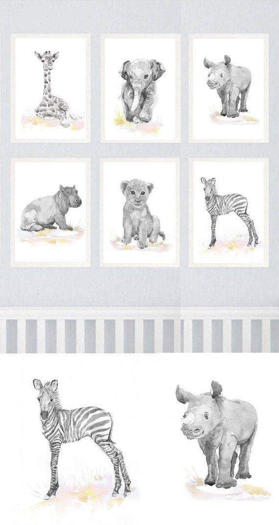 Neutral Nursery Decor, Set of 3 prints, Baby Animals Nursery, Watercolor Painting, Safari Wall Art Watercolour Print, New baby Gift, Gray -   24 nursery decor animals ideas