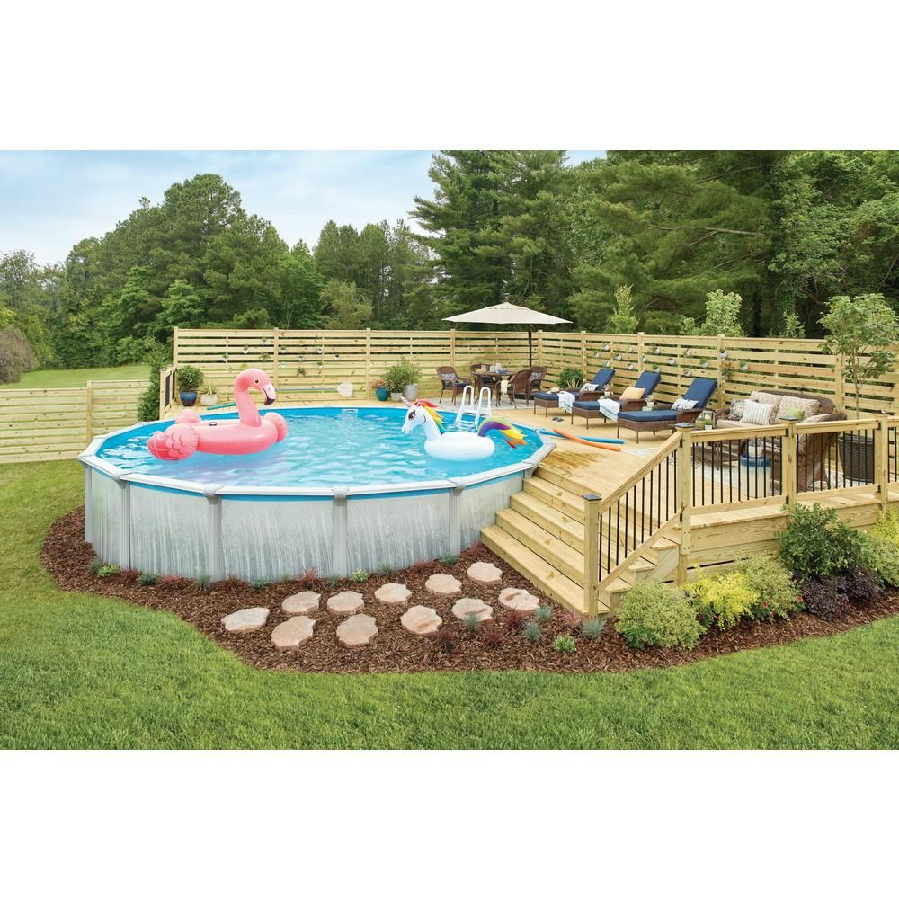 Blue Wave Martinique 24 Ft Round X 52 In Deep Metal Wall Above Ground Pool Package With 7 In Top Rail Nb3115 The Home Depot Decks Around Pools Pool Deck Plans Swimming Pools Backyard