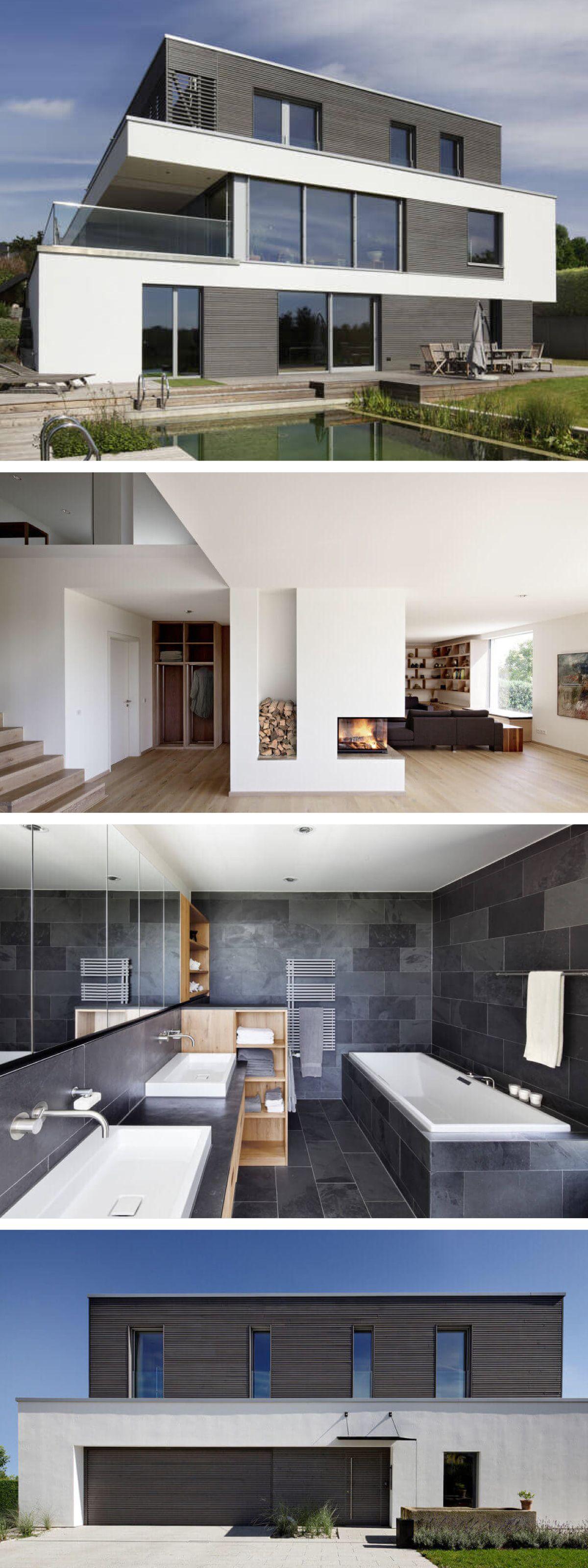 Modernes Design-Haus Bauhausstil mit Flachdach-Architektur ...