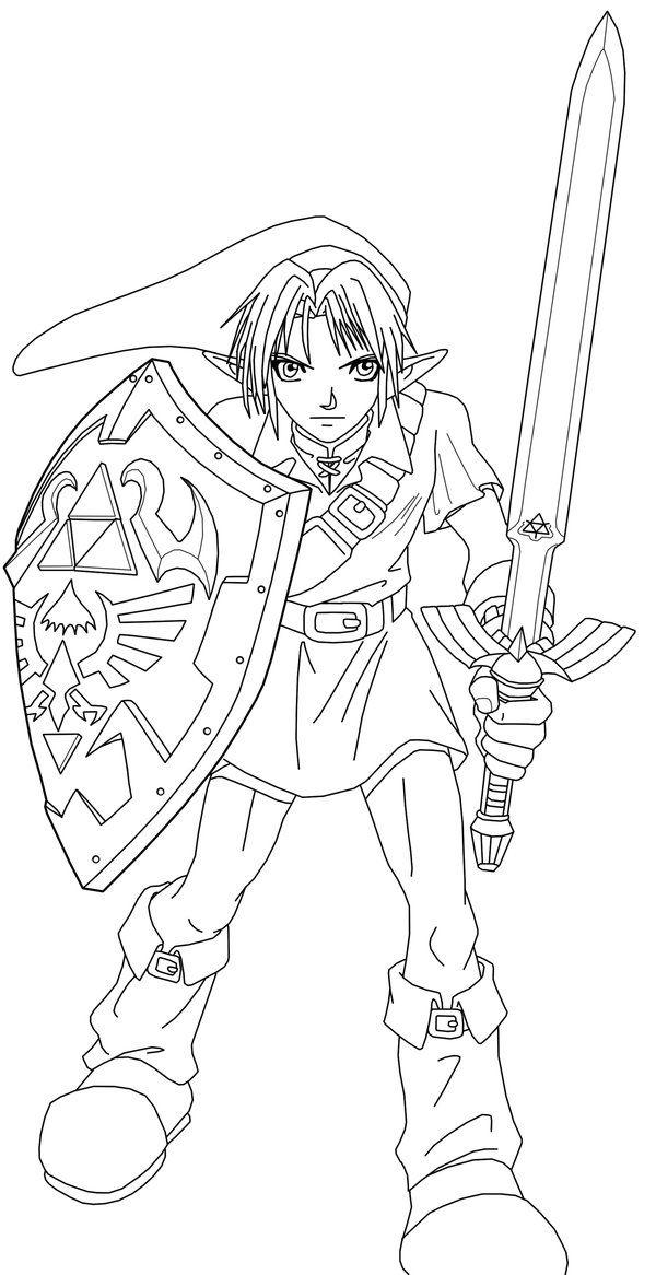 Link Line Art By Frozen Phoenix Zelda Drawing Halloween Coloring Pages Art