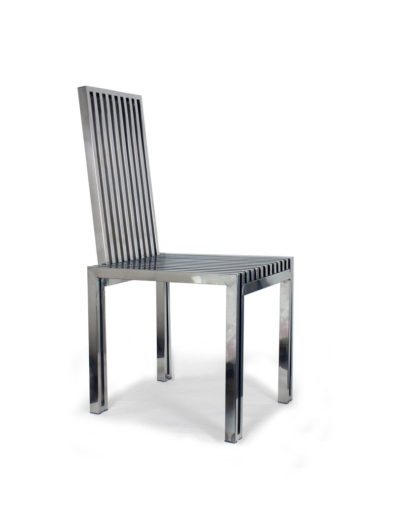 Polished Stainless Steel Dining Chair