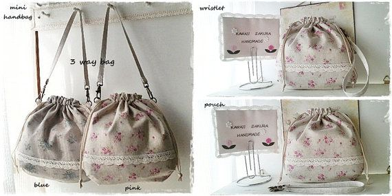 3 way drawstring bag (mini handbag, wristlet or pouch ) via Etsy