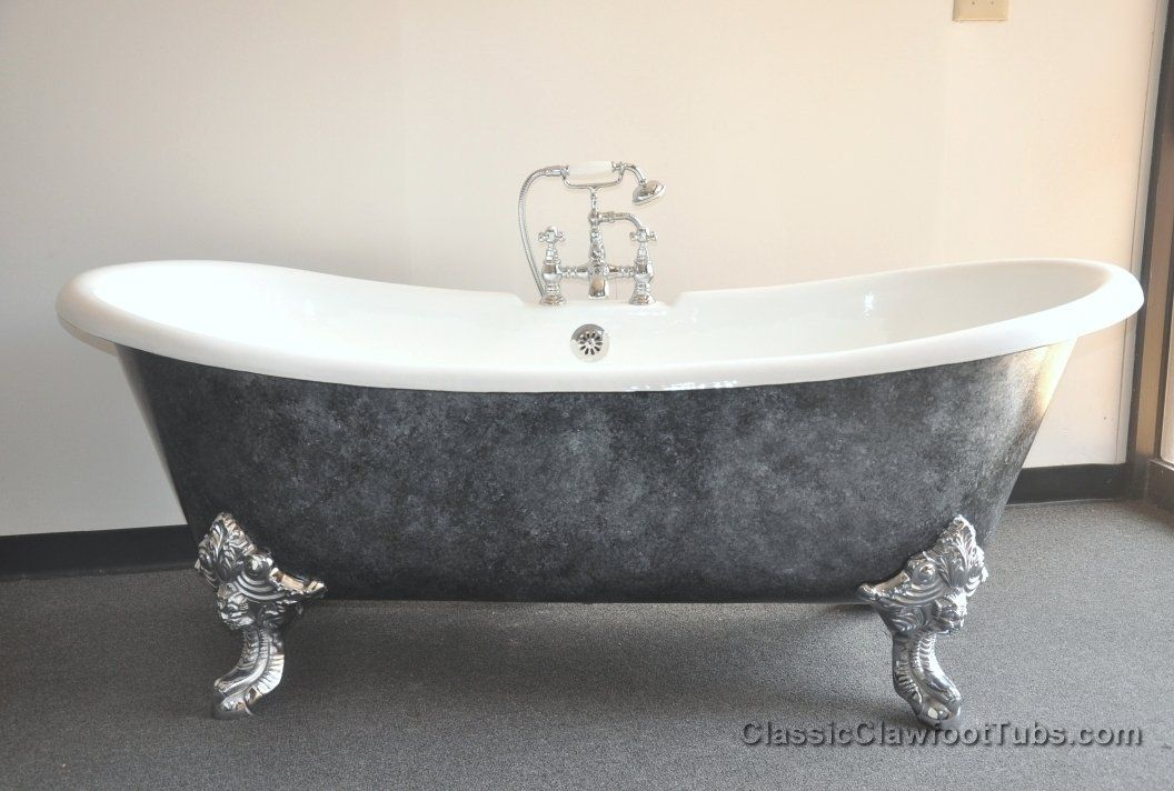 71 cast iron double ended slipper clawfoot tub w imperial for Bathroom with clawfoot tub