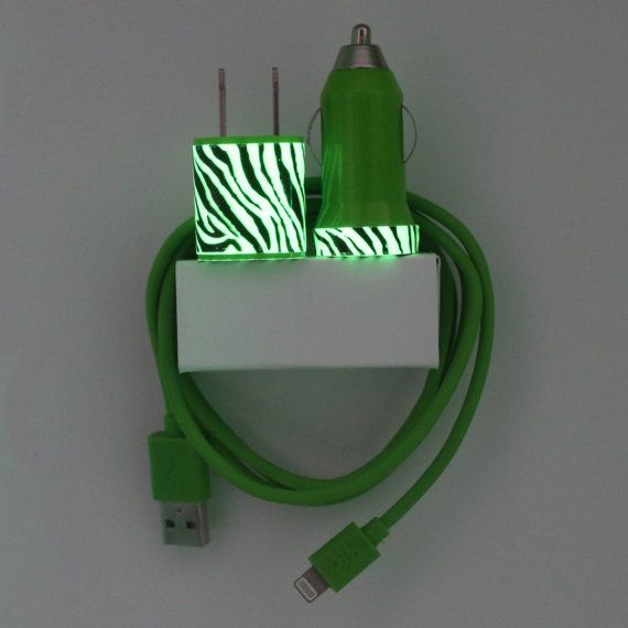 Green Zebra Glow in the Dark iPhone Charger includes by