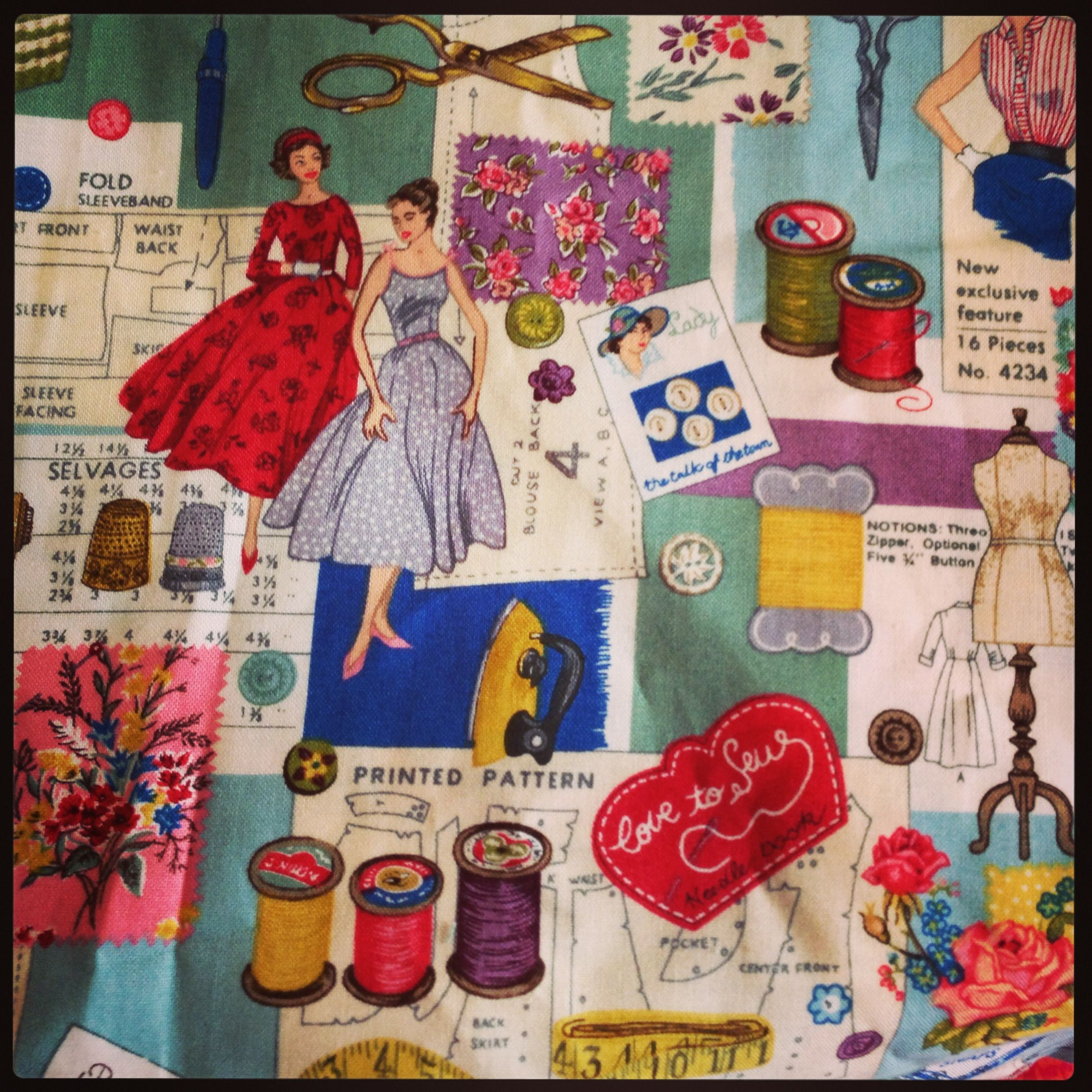 Close up of the sewing themed fabric sew retro montage by for Sewing materials