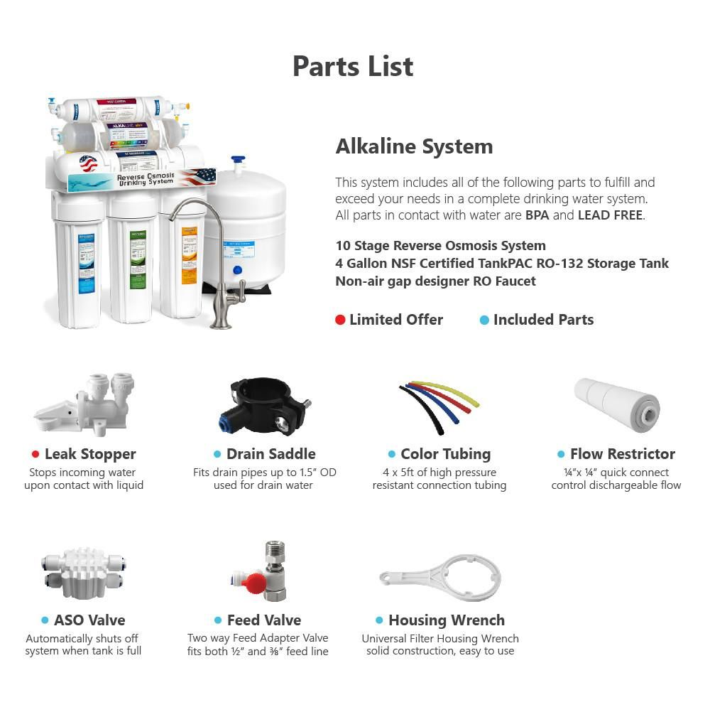 10 Stage Alkaline Reverse Osmosis Ro Water Filter System 50 Gpd Brushed Nickel Reverse Osmosis Water Filters System Water Filter