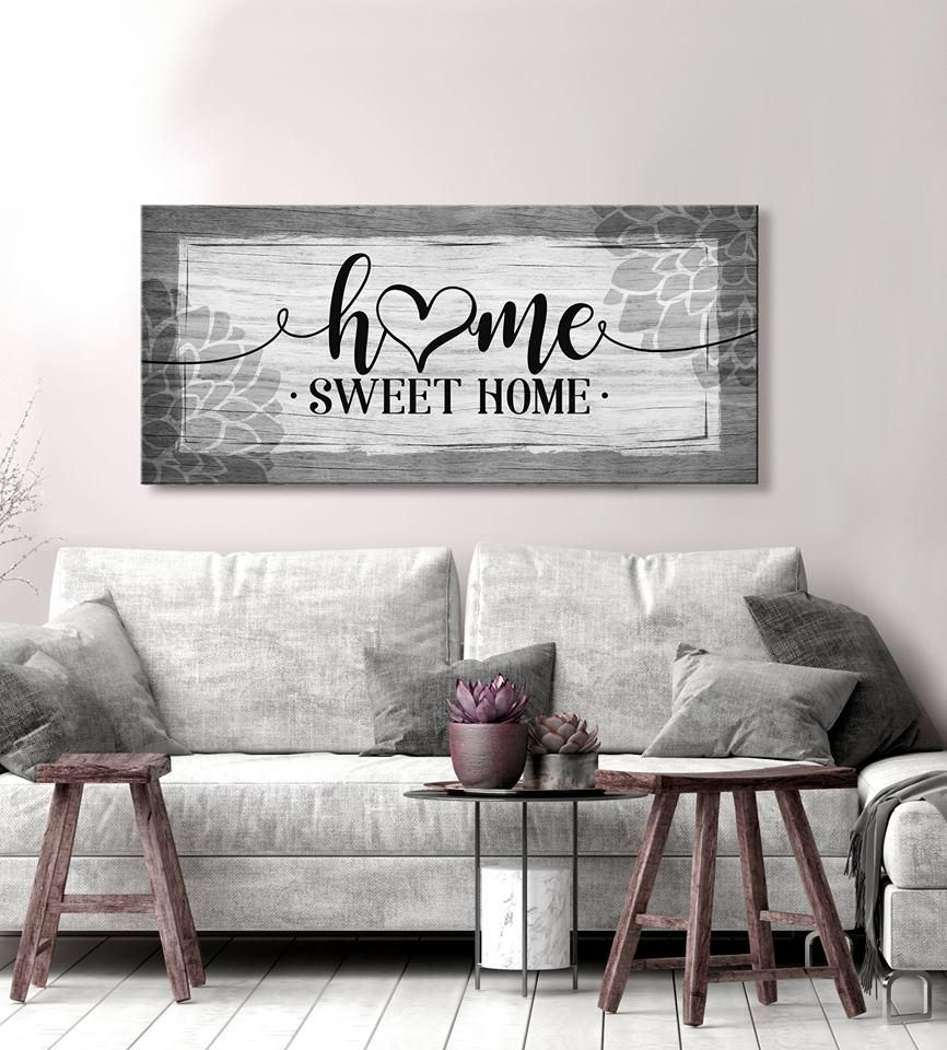 Home Wall Art Home Sweet Home V4 Wood Frame Ready To Hang In