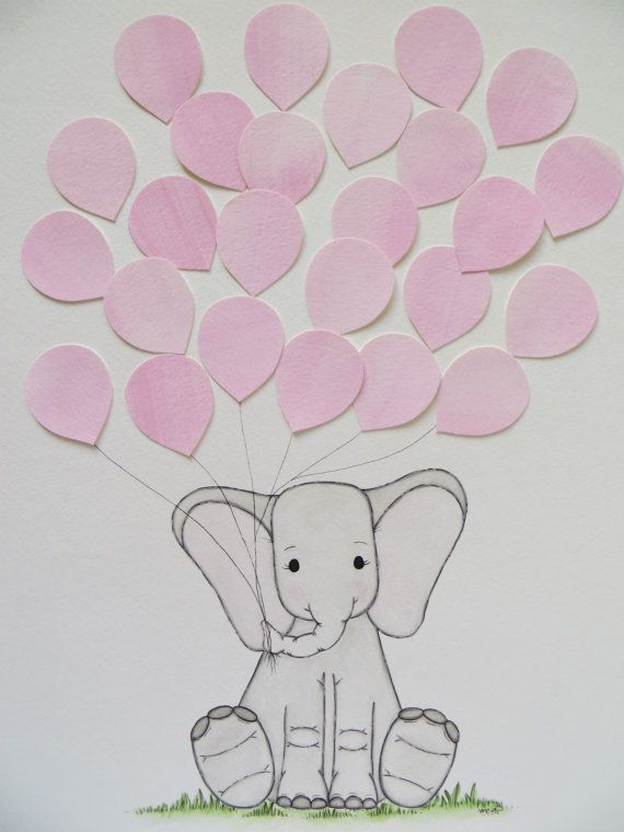 Baby Shower Guest Book Elephant Alternative By Waterblooms Canvas IdeasGuest