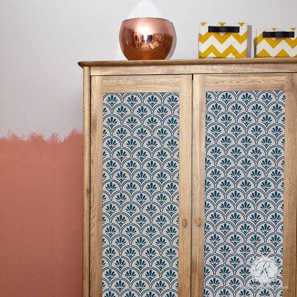 image stencils furniture painting. art deco fanfare raven lily furniture stencil image stencils painting n