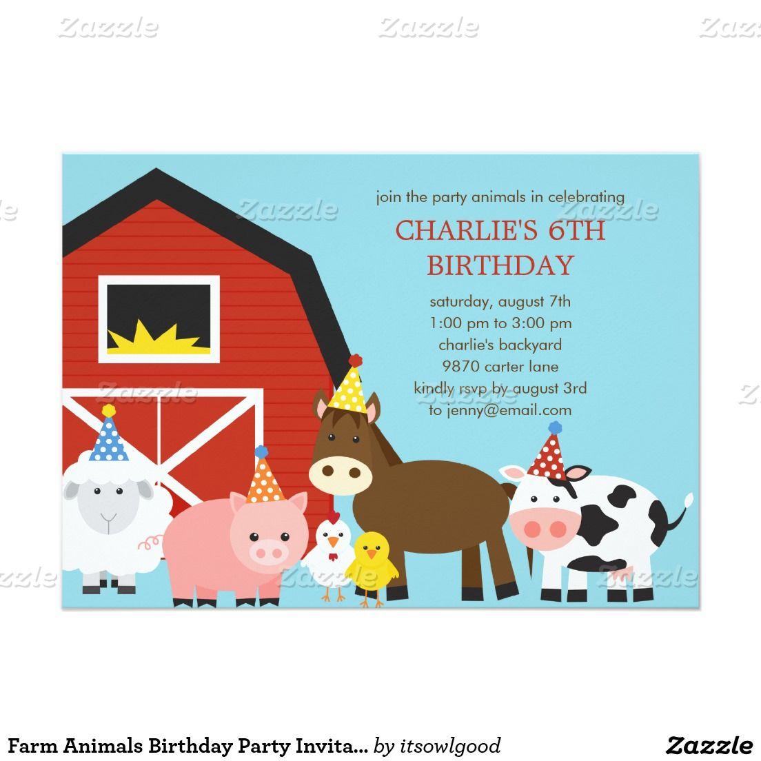 Farm Animals Birthday Party Invitation | Animal birthday, Party ...