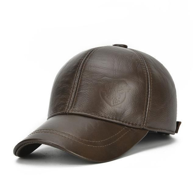4b195aba807 Factory Outlet Winter Genuine Leather Baseball Cap Men with earflap Keep Warm  Older Men Dad s Hat Father s Bomber Cap