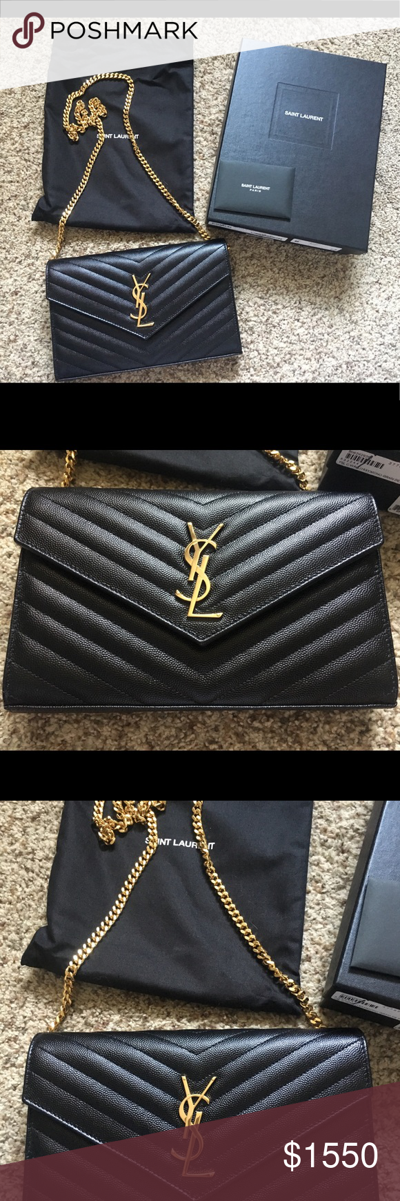 b3e0be988444 YSL Matelasse Monogram Wallet on Chain