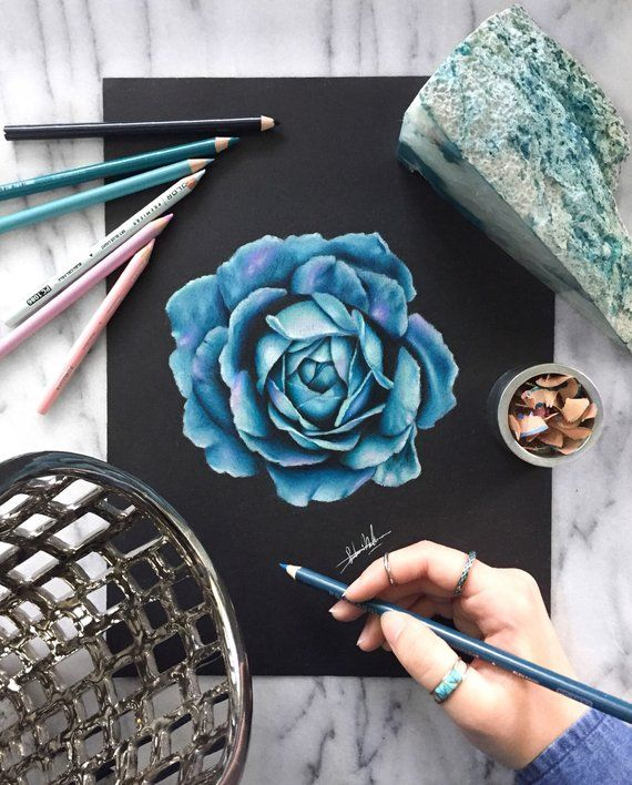 Original Teal Rose With Purple Highlights Glowing Rose