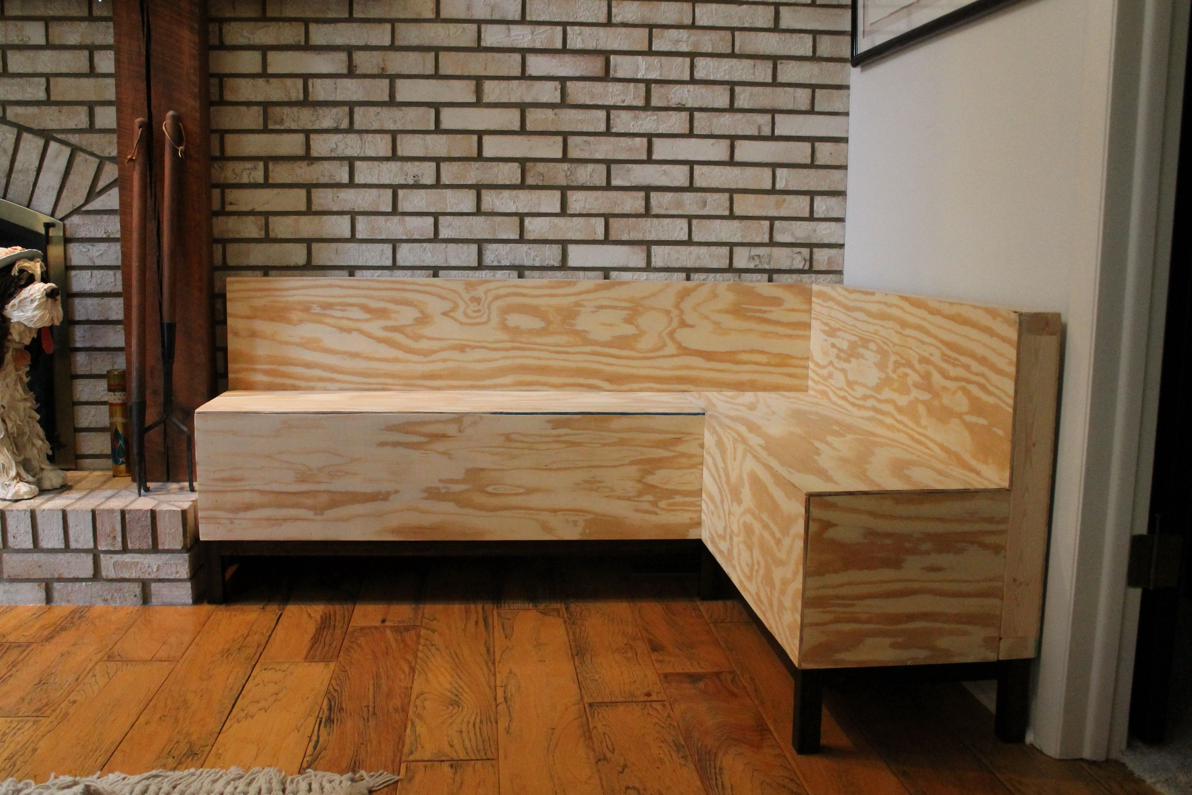 Image result for wood restaurant bench with leather cushion