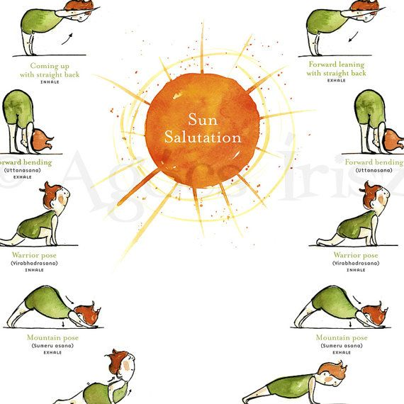 Sonnengruß - Yoga-Poster   Sonne, Plakat und Übung