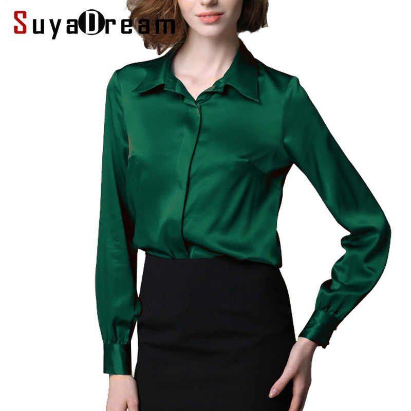 Women Silk Blouse Long Sleeve Solid Shirt Blusas Femininas Office Lady Blouses Custom Made Plus Size 2019 Spring Shirt Silk Blouse Blouse Longblouses Plus Ali Spring Shirts Blouses For Women Long Blouse