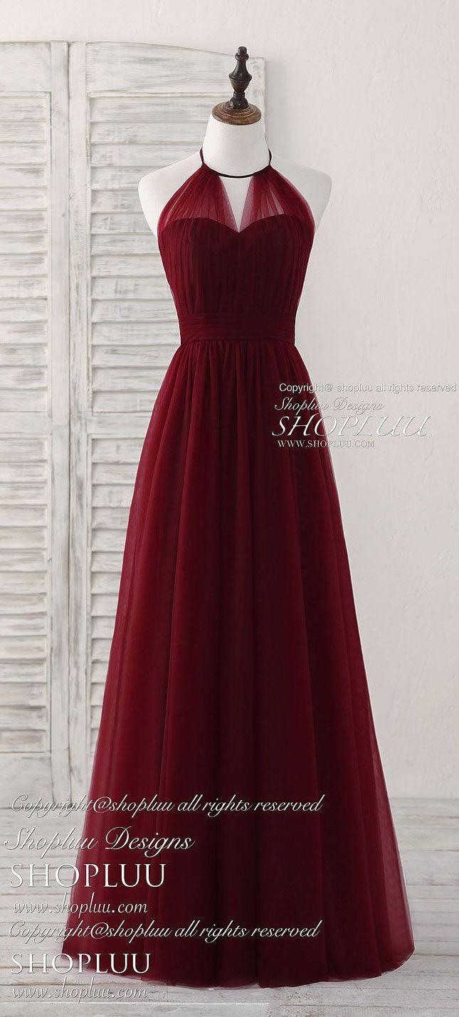 Simple burgundy tulle long prom dress burgundy bridesmaid dress
