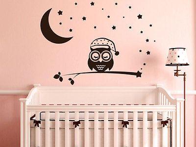 Kinderzimmer ideen für mädchen eule  Details zu Wandtattoo Eulen Aufkleber Kinderzimmer Mädchen Sterne ...