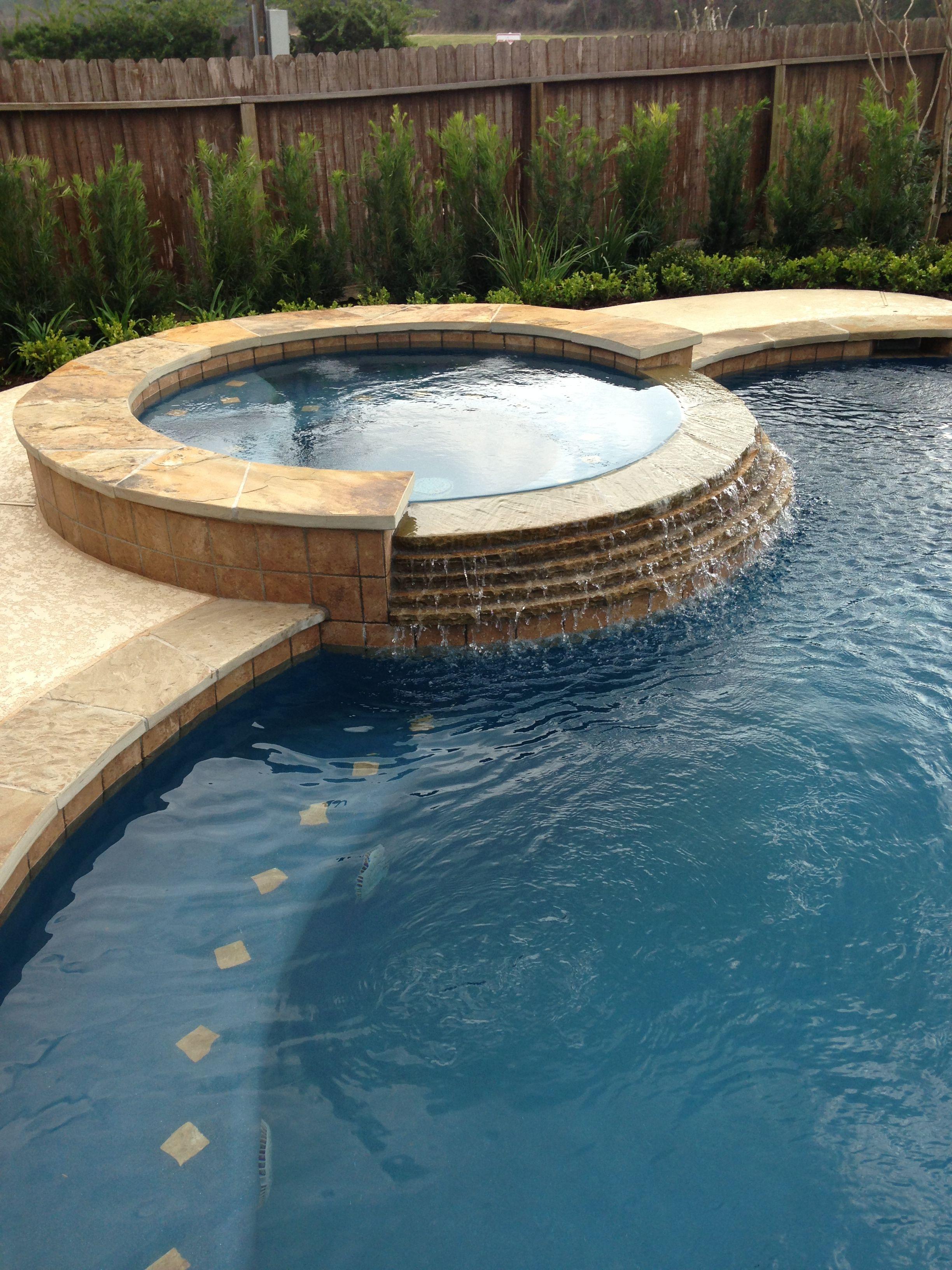 Inground Swimming Pool/Tile Raised Spa/Stacked Stone Spa
