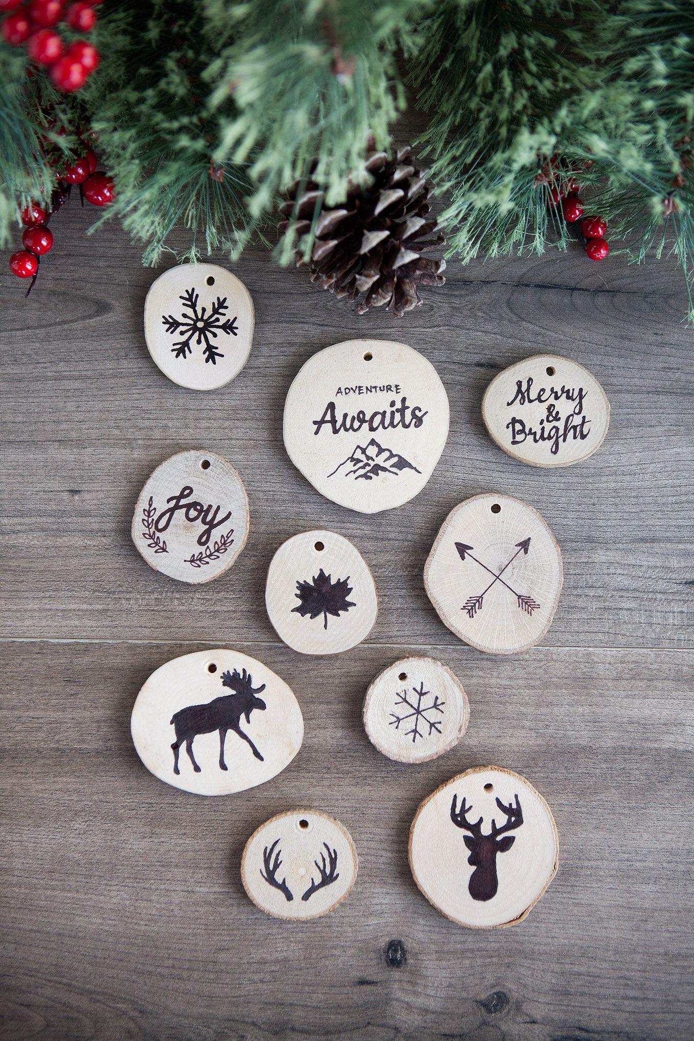 Faux Wood Burned Christmas Tree Ornaments Christmas Wood Christmas Crafts For Gifts Dyi Christmas Ornaments