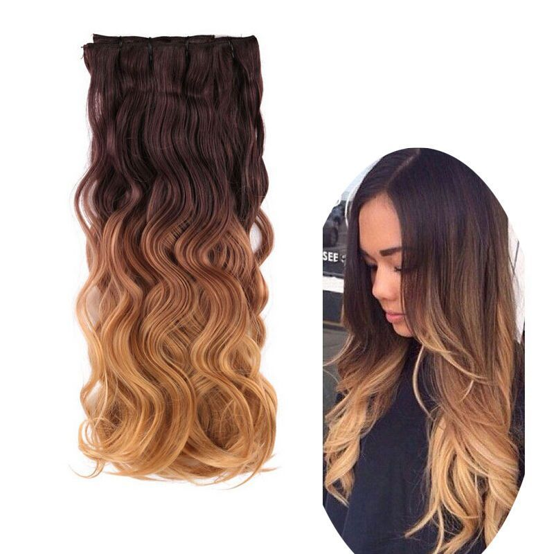 Chocolate Brown To Caramel Blonde 8pcs Ombre Clip In Full Head Hair