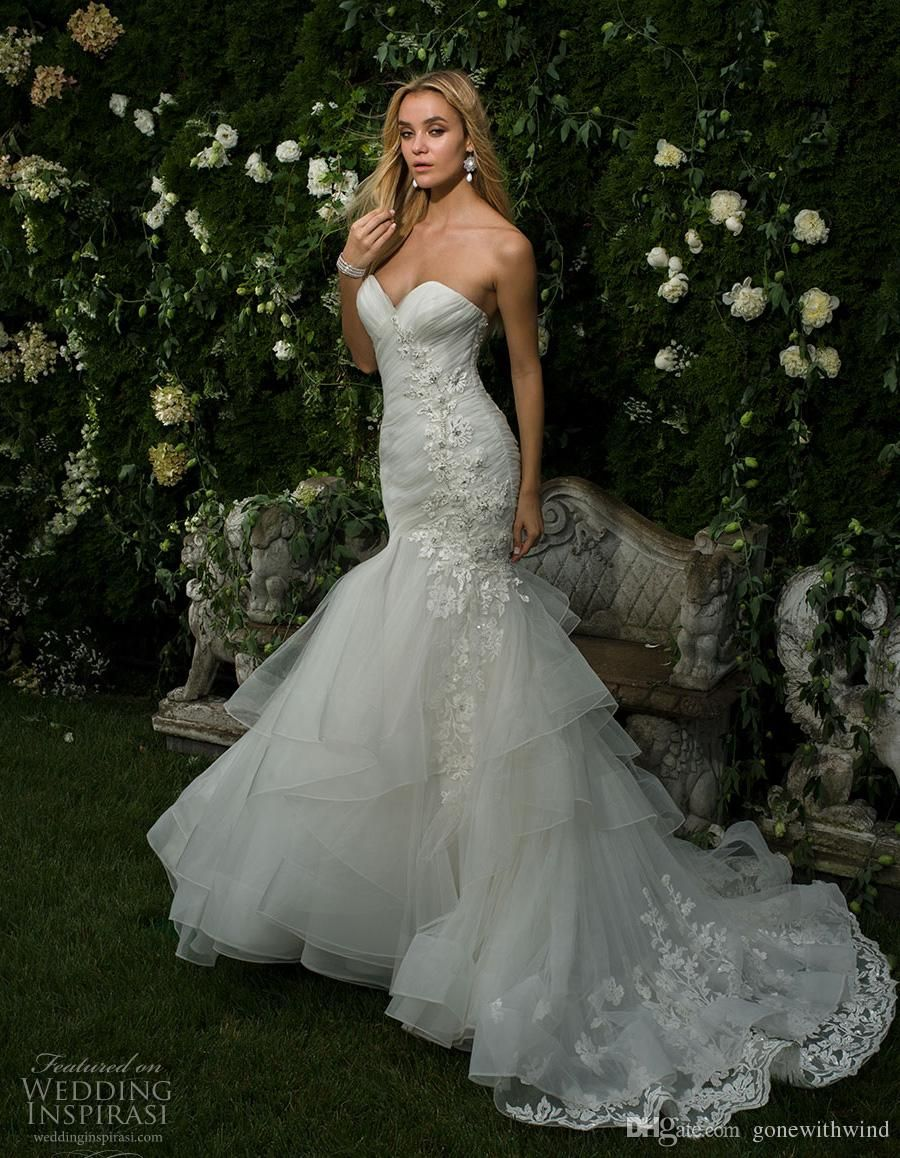 8257d8fdffcf Layered Tulle Skirt Mermaid Wedding Dresses 2017 Strapless Sweetheart  Neckline Ruched Bodice Floral Embroidered Chapel Train Beautiful Wedding  Dresses ...