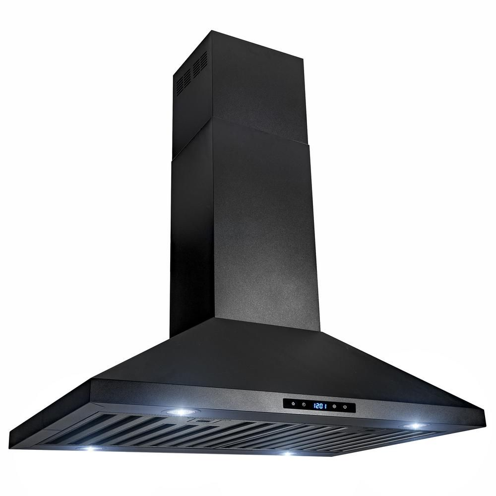 Akdy 30 In 470 Cfm Kitchen Island Mount Range Hood In Black Painted Stainless Steel With Touch Control Rh0080 The Home Depot In 2020 Island Range Hood Kitchen Range Hood Range Hood