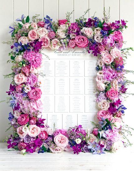 Tableau mariage cornice rose