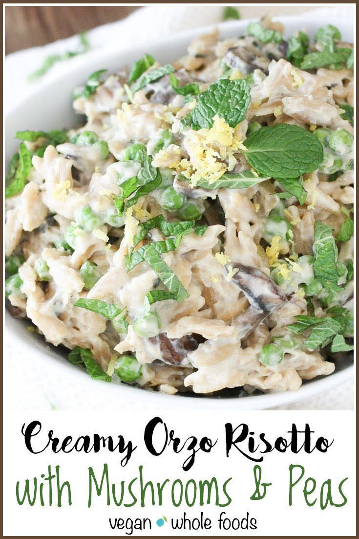 Creamy Vegan Orzo Risotto with Mushrooms and Peas | veggiesdontbite.com | #vegan #plantbased #italian #dairyfree