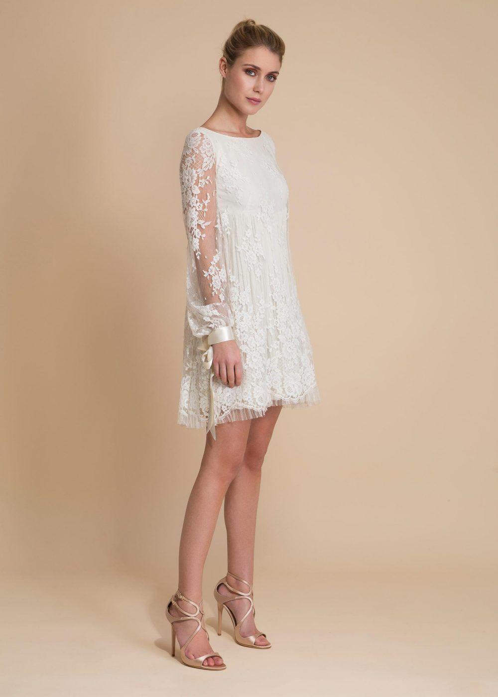 Short embroidered lace bridal dress short bridal pinterest