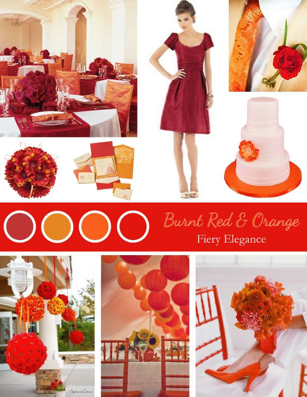Orange, red, mustard and burgundy color palette! Used as a wedding ...