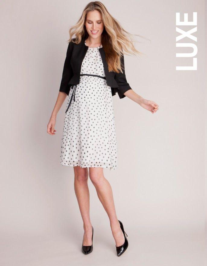 314a646518a Pure Silk Polka Dot Maternity Dress